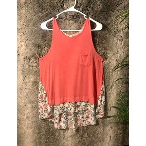 Coral Solid and Floral Pattern Tank